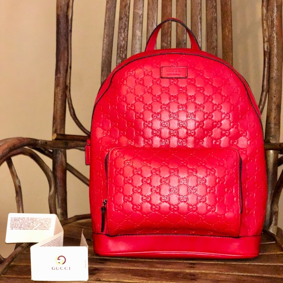 8e675c7b9db Authentic Men s Gucci Backpack (Red)